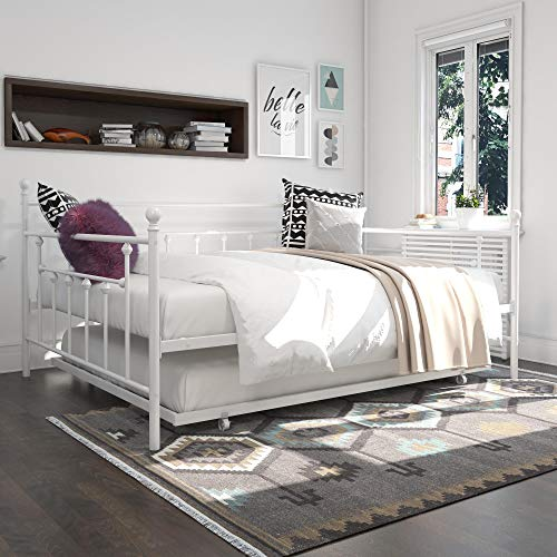 DHP Manila Queen Metal Full Size Trundle, White Daybed (Daybed Queen)