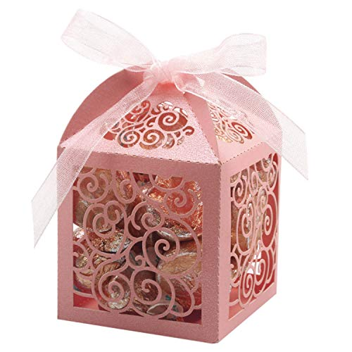 KPOSIYA 100 Pack Wedding Favor Boxes Laser Cut Boxes Party Favor Box Small Gift Boxes Lace Candy Boxes for Wedding Bridal Shower Baby Shower Birthday Party Anniverary with Ribbons (Pink,