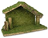 Holy Family Nativity Stable Creche Christmas Decoration Wood and Moss 5''H