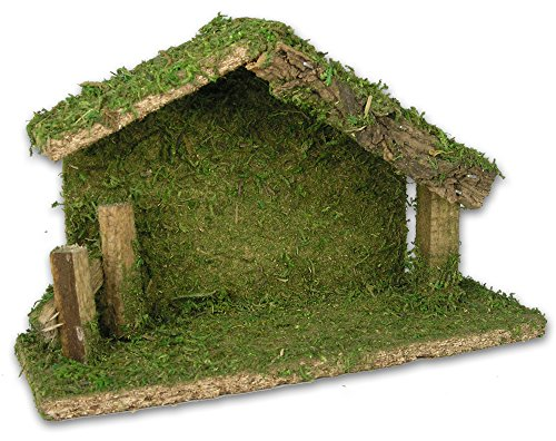 Holy Family Nativity Stable Creche Christmas Decoration Wood and Moss 5''H by Banberry Designs (Image #1)