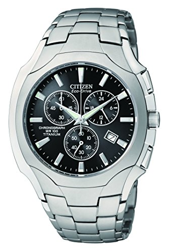 Citizen Men's AT0890-56E Eco-Drive Chronograph Titanium Black Dial Watch (56e Watch)