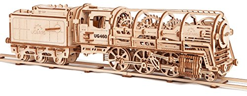 S.T.E.A.M. Line Toys UGears Mechanical Models 3-D Wooden Puzzle - Mechanical Steam Locomotive Train Engine ()