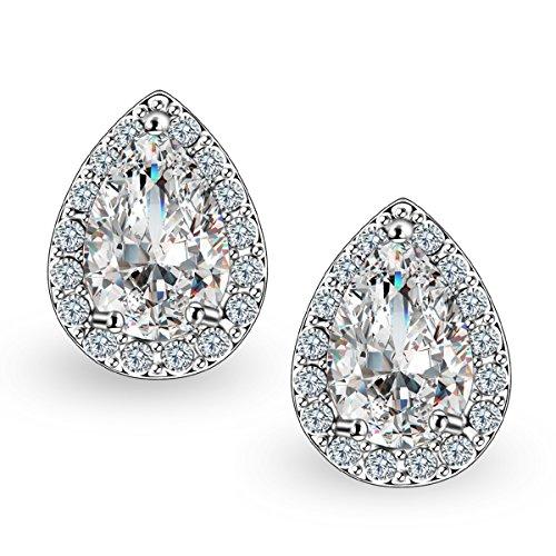 Quinlivan 2 Pairs Premium Halo Stud Earrings Teardrop Brilliant Cut Cubic Zirconia Earrings Set for Women, Girls (rhodium) ()