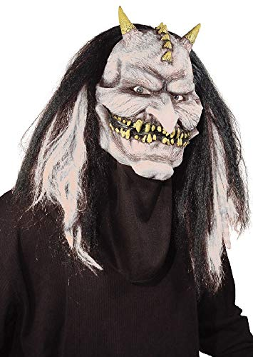 Mens Ladies Devil Mask with Moving Jaw Halloween Fancy Dress Costume -