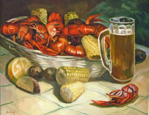 New Orleans Beer Mug - Crawfish Boil and Beer Mug New Orleans Baltas Matted Art Print