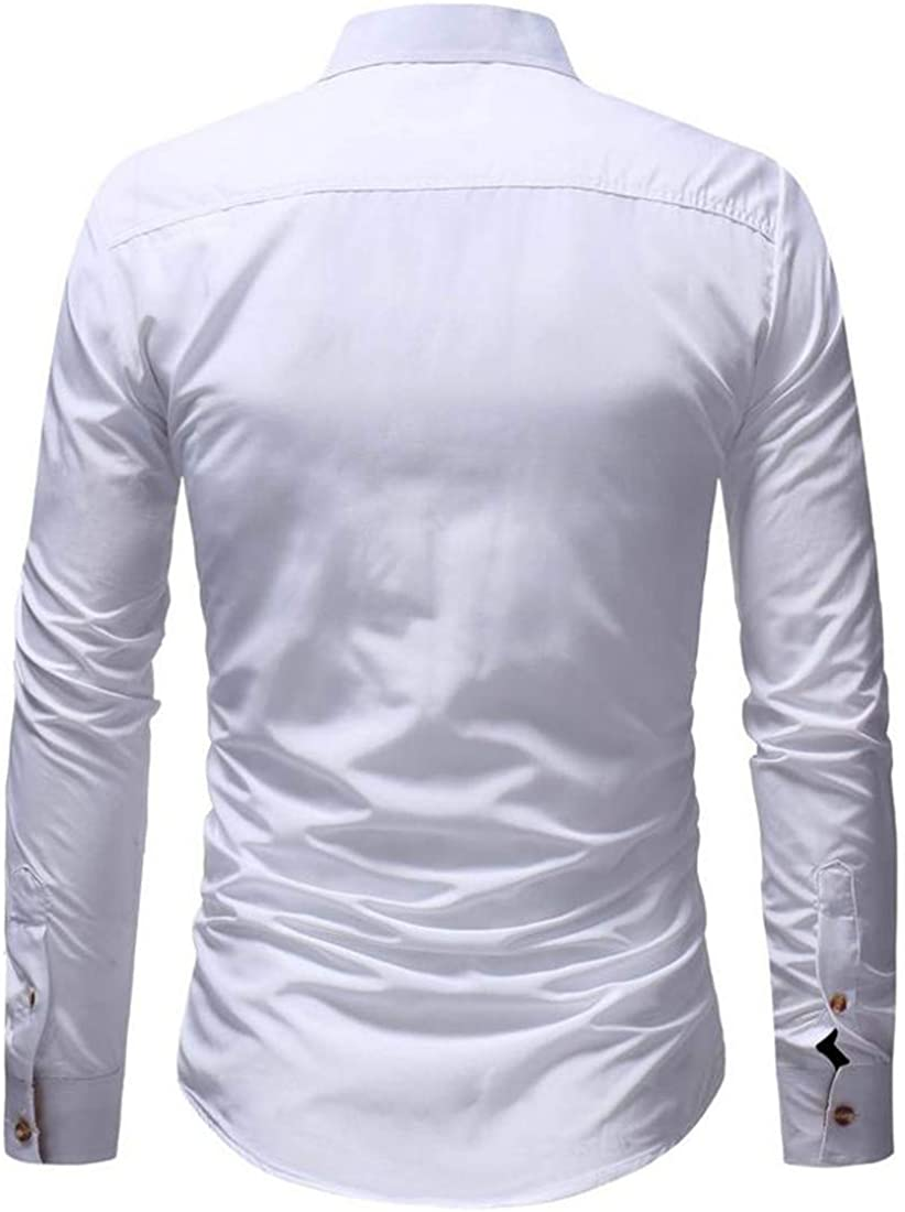 Lutratocro Mens Autumn Color Block Casual Button Up Long Sleeve Shirts