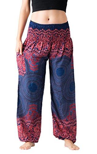 (Bangkokpants Women's Boho Pants Hippie Clothes Yoga Outfits Peacock Design One Size Fits (Rose)
