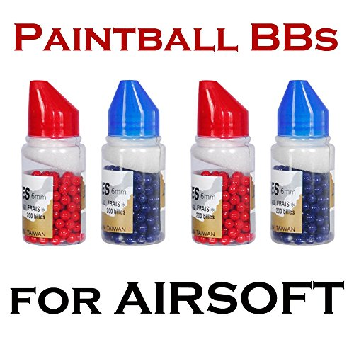 6mm Paintball bbs for Airsoft Guns Snipers Pistol Blue Red AMMO 800 Paint Rounds (68ci Glove Bottle)