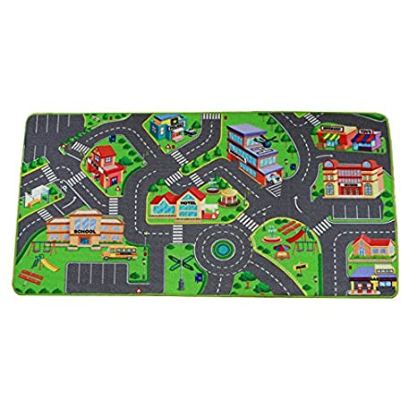 amazon com kids rug with car road grey learning carpets city map