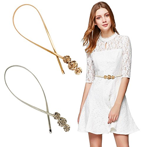 (Women Skinny Belt Chain Elastic Punk Chain Wedding Belt Gold Waistband (Rose))