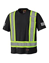 Pioneer V1050570-M 100% Cotton High Visibility Safety Work T-Shirt, Black, M