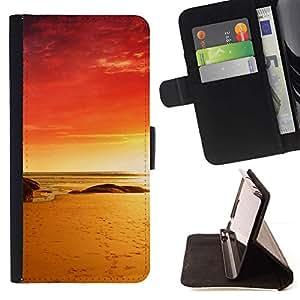 Momo Phone Case / Flip Funda de Cuero Case Cover - Red Beach;;;;;;;; - HTC One M7