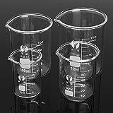 DIY 4Pcs Borosilicate Glass Beaker Volumetric Glassware For Laboratory