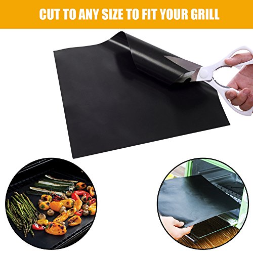 "HUGALLUR BBQ Grill Mat, 3 Pack Non Stick Grilling Mat Set, Durable, BPA-Free, Reusable & Easy To Clean 16""X13"" Baking Mat/Top Grilling Accessory For Gas, Charcoal, Electric Barbecue, Oven Or Smoker"