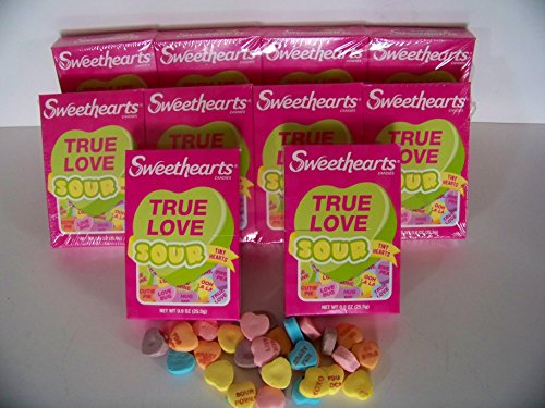 Sweet Hearts Sour Conversation Candy Valentine 10 (.9 oz Boxes-Images Vary)