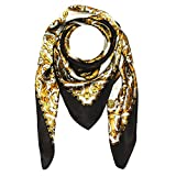 LORENZO CANA - Italian Luxury Scarf 100% Silk Satin Black Gold 40'' x 40'' - 89001