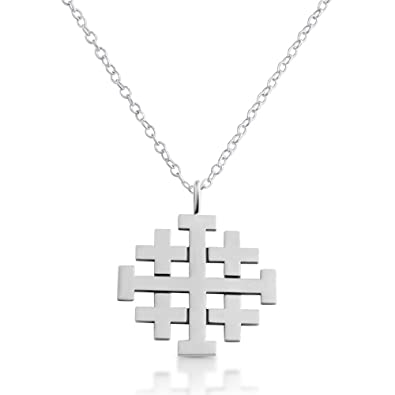 Amazon azaggi sterling silver handcrafted jerusalem cross azaggi sterling silver handcrafted jerusalem cross necklace 12 aloadofball Images