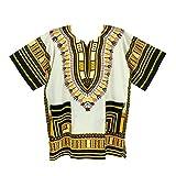 Vipada Handmade's Traditional Dashiki Shirt for men and women White and Yellow 5XL