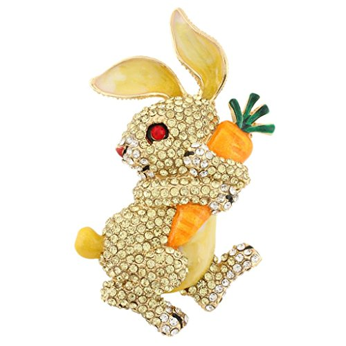Hollywood Bunny - EVER FAITH Austrian Crystal Enamel Adorable Rabbit with Carrot Brooch Pendant Yellow Gold-Tone