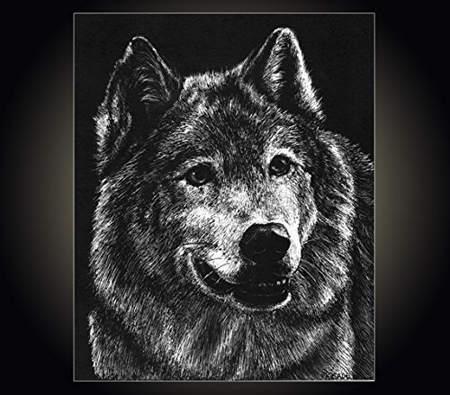 "Lithograph print""Wolf"" A pen and ink on scratchboard drawing of a gray wolf"