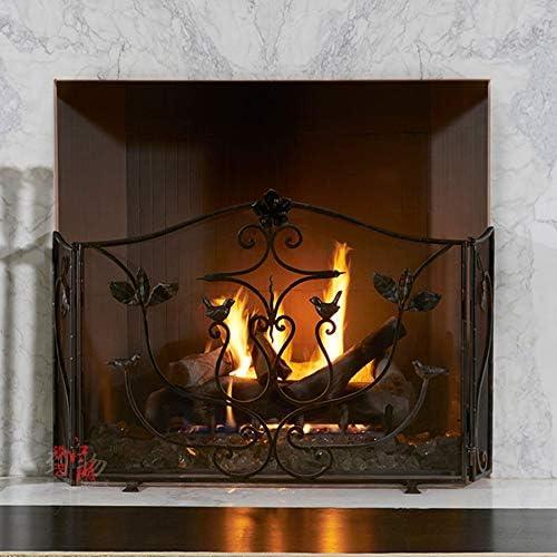 LJFPB 暖炉スクリーン 3パネルブラック 赤ちゃんの子供の安全 錬鉄 スパークガードカバー 直火/ガス火/ウッドバーナー用 55.7×26.8インチ (Color : Black)