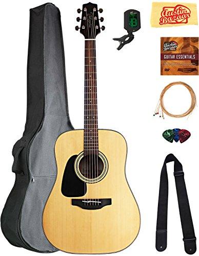 Takamine GD30LH Left-Handed Dreadnought Acoustic Guitar - Natural Bundle with Gig Bag, Tuner, Strap, Strings, Picks, Austin Bazaar Instructional DVD, and Polishing - Left Handed Takamine Guitars