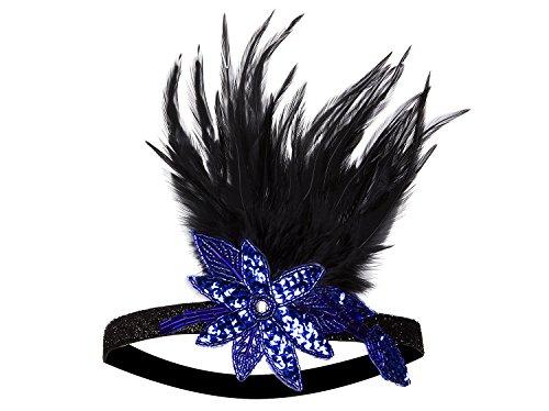 [Vijiv 20s Headpiece Inspired Leaf 1920s Flapper Headband Great Gatsby Blue] (Blue Flapper Dress)