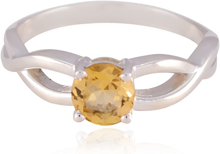 Solid Silver Yellow Citrine Lucky Gemstone Ring Home d/écor Good Selling Shops Gift for Childrens Day Dainty Ring Lucky Gemstone Round Faceted Citrine Rings