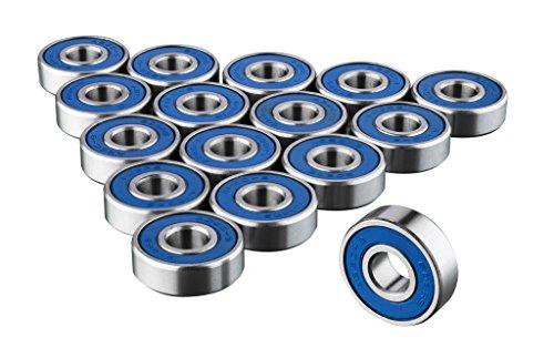 TRIXES 16 x 608RS Skateboard Bearings - Frictionless ABEC 9 Roller Bearing...