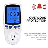 Electricity Usage Monitor Power Meter Plug Home Energy Watt Volt Amps KWH Consumption Analyzer with Digital LCD Display Overload Protection