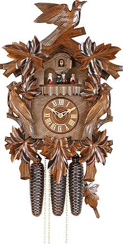 German Cuckoo Clock 8-day-movement Carved-Style 20.00 inch - Authentic black forest cuckoo clock by Hekas