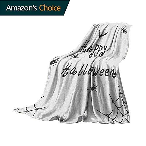 Spider Web Blanket Basket,Happy Halloween Celebration Monochrome Hand