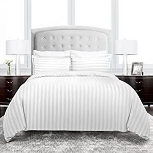 Beckham Hotel Collection 2200 Series Dobby Striped Duvet Cover Set - Luxury Soft Brushed Microfiber with Matching Shams - Hypoallergenic - Full/Queen - White