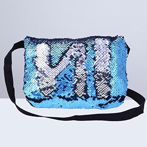 Sera Sacchetto Argento Cosmetico Partito Brillare Bling Fenical blu Reversibili E Di Bag Paillettes Awn5qpxz