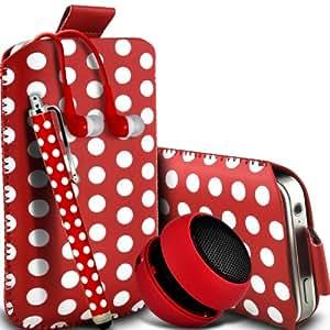 Wiko Cink Peax 2 Dual-SIM de Protección Premium Polka PU ficha de extracción Slip In Pouch Pocket Cordón piel cubierta de la caja de liberación rápida, grande Polka Stylus Pen, Jack de 3,5 mm auriculares auriculares auriculares y mini recargable portátil de 3,5 mm Cápsula Viajes Bass Speaker Jack Red & White por Spyrox