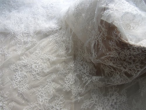 g Lace Fabric, Ivory lace fabric, Wedding lace, French style, Gorgeous Ivory Alencon Lace Fabric, sold per yard-LSM3LC (LSM3LC005) (Alencon Lace Yard)