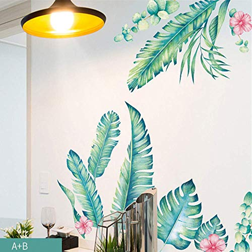 DERUN TRADING Leaf Wall Decals Palm Tree Wall Decals Green Leaves Wall Paper Evergreen Wall Sticker Removable Decal Peel and Stick Giant Wall Decals Painterly Ivy Peel and Stick Wall ()