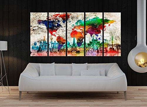 Large Canvas Art, Push Pin World Map Canvas Wall Art for Travelers, Large wall art 5 pieces , Large World Map wall art framed set, World Map Canvas global t920 -