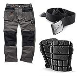 Scruffs Worker Plus Work Trousers with Knee Pads and Clip Belt (30' Waist x Short Leg (Grey Belt))
