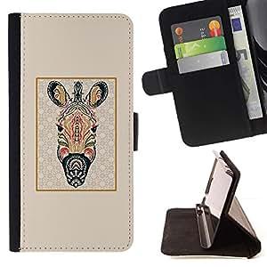For Samsung Galaxy J1 J100 Case , Modelo de la cebra abstracta Líneas enmarcada Beige- la tarjeta de Crédito Slots PU Funda de cuero Monedero caso cubierta de piel