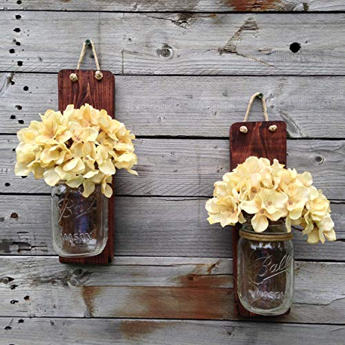 Tennessee Wicks Handcrafted Rustic Mason Jar Wall Wooden Sconce, Set of 2, With Optional Off White Hydrangea Spray ... ()