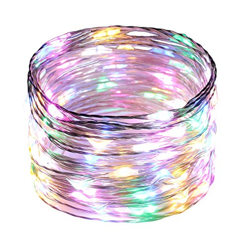 Ruichen(TM Fairy Lights USB Plug Power 33Ft 100 LED Silver Wire Starry String Lights with ON/Off Switch for Bedroom Indoor Outdoor Decorative(Multi Color)