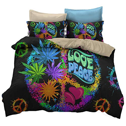 KTLRR Peace Symbol Series Bedding Sets,Colorful Love Peace Hippie Peace Sign Bohemian Style Duver Cover Sets with Pillowcases,Kids Adults Home Bed Decoration Bedding,Microfiber,No Comforter,Queen 3pcs