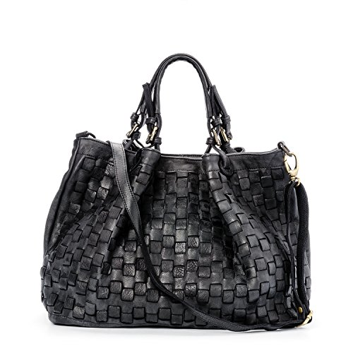Sac Moutarde Noir Ira del Vrai femme Made in Valle Caraibica Model Vintage Italy cuir à main 6B6xEpZRwq