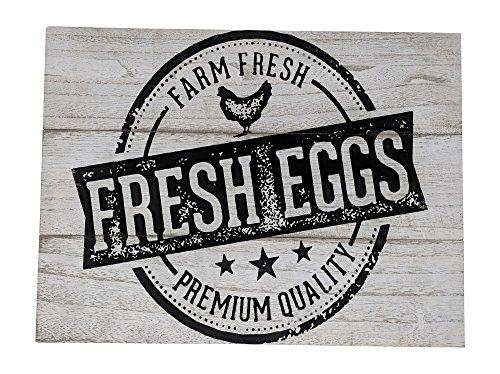 Gianna's Home Rustic Farmhouse Distressed Wood Plank Board Sign (Farm Fresh Eggs)