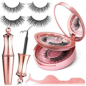 (4 Pairs) Magnetic Eyelashes, ZellBao Magnetic Eyeliner and Lashes Waterproof Magnetic Eyelashes Kit, Reusable Silk False Lashes with Mirror and Tweezers