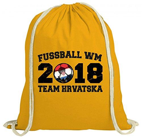 ShirtStreet Kroatien Croatia Fußball WM Fanfest Gruppen natur Turnbeutel Rucksack Gymsac Team Hrvatska Gelb Natur