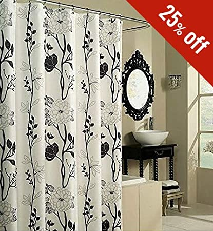 Amazoncom Black N White Shower Curtain Large Floral Shower Curtain