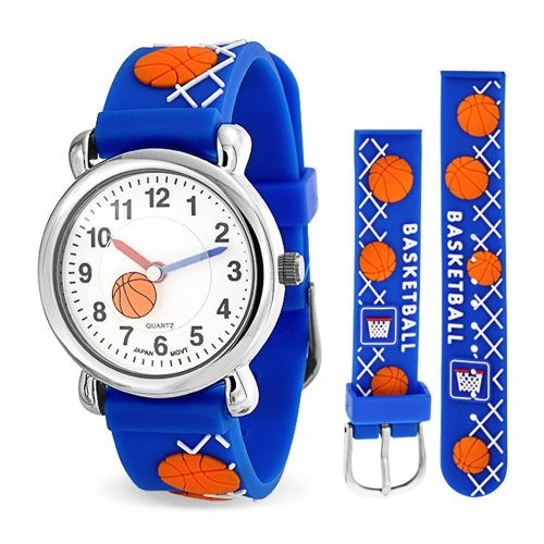 Orange Basketball Sports Waterproof Wrist Watch Time Teacher Quartz 3D Cartoon Blue Silicone Wristband Round White Dial from Bling Jewelry