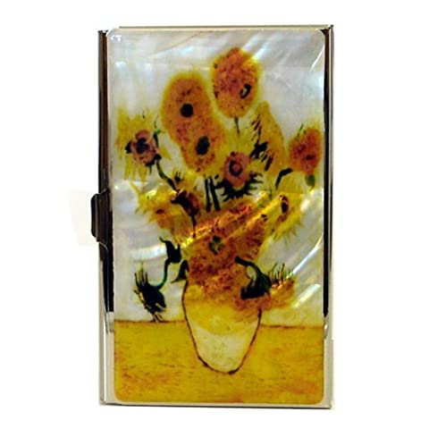 Mother of Pearl Sunflowers by Van Gogh Art Painting Design Business Credit Name Card Holder Case Metal Stainless Steel Engraved Slim Purse Pocket Cash Money - Mother Of Pearl Wall Art